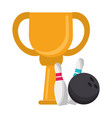 bowling trophy cup championship vector image vector image