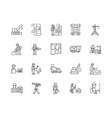 builders line icons signs set outline vector image vector image