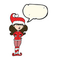 cartoon santas helper woman with speech bubble vector image