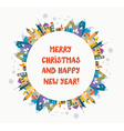 Christmas and New Year greeting card with nice vector image