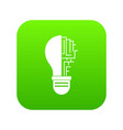 circuit board inside light bulb icon digital green vector image