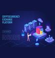 cryptocurrency exchange platform dark neon light vector image vector image
