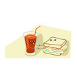 cute sandwich with tomato juice cartoon comic vector image vector image