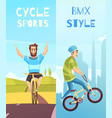 cycle racing vertical cartoon banners vector image vector image