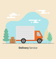 delivery service concept truck and cardboard vector image