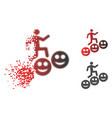 disintegrating pixelated halftone man steps smile vector image vector image