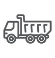dump truck line icon vehicle and construction vector image