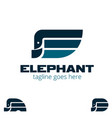 e letter based elephant shape symbol set vector image vector image