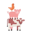 Farm animals set hen pig and cow domestic cartoon vector image