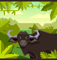 flat geometric jungle background with buffalo vector image vector image