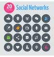 Flat minimalistic social network icons on dark vector image vector image