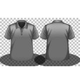 grey short sleeves polo shirt front and back side vector image