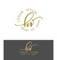 h v handdrawn brush monogram calligraphy logo vector image vector image