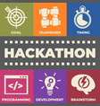 hackathon concept with icons and signs vector image vector image
