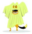 halloween dog character in ghost costume cartoon vector image