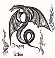 hand drawn tattoo with engraved dragon vector image