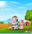 happy little animals in the farm vector image