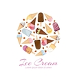 Ice cream icons logos set in circle design vector image vector image