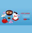 isometric japan horizontal banner vector image