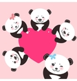 Kawaii funny panda white muzzle with pink cheeks vector image vector image