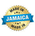 made in Jamaica gold badge with blue ribbon vector image vector image