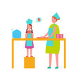 mother and daughter cooking isolated vector image vector image