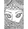 muslim woman - coloring page for adults doodle vector image