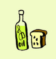 olive oil and bread icon grunge ink vector image vector image