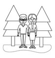 outline beauty man and woman couple with clothes vector image