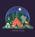 people camping in wild nature vector image