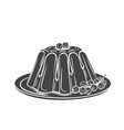 pudding icon badge dessert vector image vector image