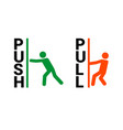 push pull door sign push and pull icon vector image vector image