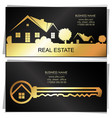 real estate golden key and houses business card vector image