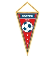 Red triangle soccer pennant isolated white vector image vector image