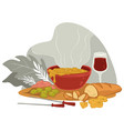 served table in restaurant or home soup and wine vector image vector image