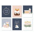 set christmas and winter holidays cards advent vector image vector image