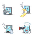 set of tablet character with menu waiter binocular vector image