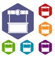 shopping counter icons set hexagon vector image vector image