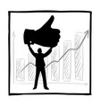 silhouette businessman holding big thumb up hand vector image