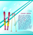 skis and ski poles stuck in the snow vector image
