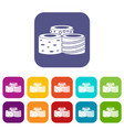 tasty turkish delight icons set flat vector image vector image