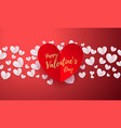valentines background with romantic red paper cut vector image vector image