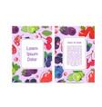 vegan cafe menu design with berries vector image