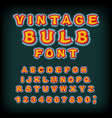 vintage bulb font glowing letters retro alphabet vector image vector image