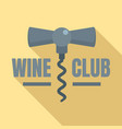 wine club corkscrew logo flat style vector image