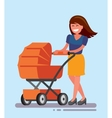 woman with baby carriage vector image vector image