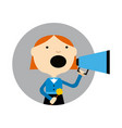 young girl with megaphone round avatar icon vector image vector image