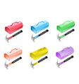 Colorful Set of Metal Toolbox Icon vector image