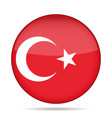 flag of turkey shiny round button vector image