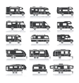 Recreational Vehicle Black Icons vector image